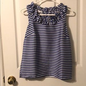 Talbots small petite Blue and white striped top